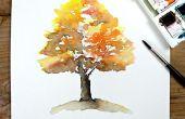 Eenvoudig herfst boom aquarel