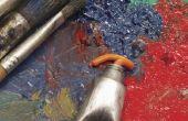 Schuren van een acryl schilderij