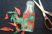 Hoe maak je een overdekte vaas van weefsel van een gerecycled Jar