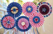 DIY rood, wit en blauw Pinwheel rozetten