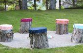 Hoe maak je kleurrijke zetels van boom stompen