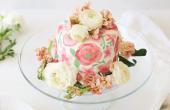 Prachtige aquarellen aan verf gebruiken op Fondant taart