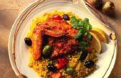 Wat voor soort rijst moet worden geserveerd met mediterrane kip stoofpot?
