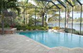 Hoe landschap rond een zwembad in Florida