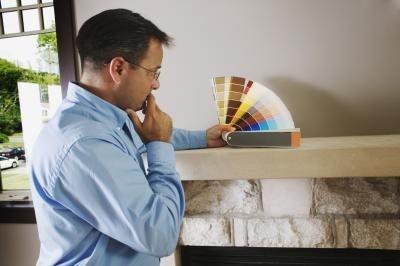 Ruiten en open haard stenen schilderen - Glanzende wandfarbe ...