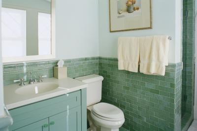 Bruin grijs en turquoise badkamer idee n for How long does a bathroom remodel take